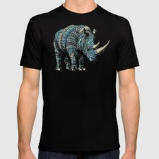 Rhinoceros (Color Version) Black Mens Fitted Tee LARGE