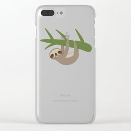 Three-toed sloth on green branch Clear iPhone Case
