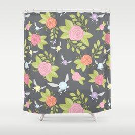 Garden of Fairies Pattern in Grey Shower Curtain