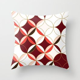 Floral Circle Pattern Inspired by Mid Century Modern Design: Red Pink and Gold Foil Throw Pillow