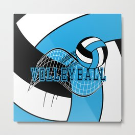 Volleyball Sport Game - Net - Baby Blue Metal Print
