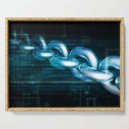 Block Chain Security Abstract Background Concept Art Serving Tray
