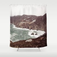 league Shower Curtains featuring Slieve League in winter by Marie Carr