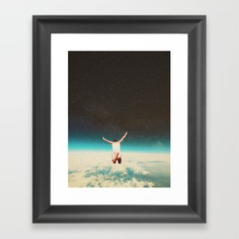 Falling with a hidden smile Framed Art Print