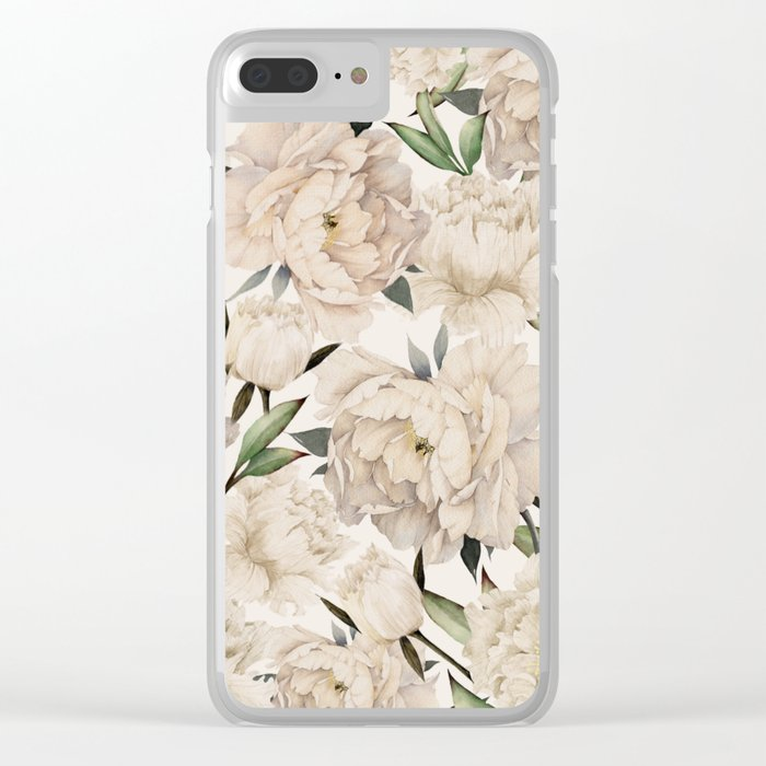 Peonies Pattern Clear iPhone Case