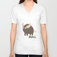bull V-neck T-shirts featuring Bull by Thomas Official