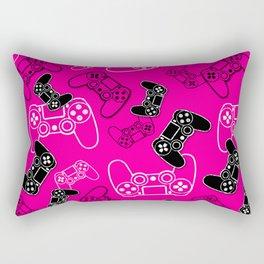 Video Games Pink Rectangular Pillow