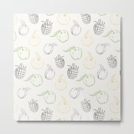 Cute and nice fruits and berry pattern with raspberry and plum Metal Print