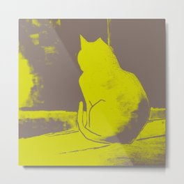 Yellow and Grey Cat, sulking, Neon  Yellow Metal Print