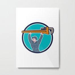Plumber Lifting Monkey Wrench Circle Cartoon Metal Print