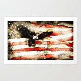 Bald Eagle Bursting Thru American Flag Art Print