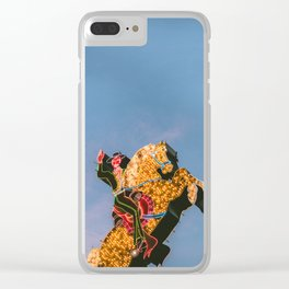 Cowboy on Horse Neon Sign Clear iPhone Case