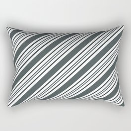 PPG Night Watch Pewter Green and Dark Green Thick and Thin Angled Lines - Stripes Rectangular Pillow