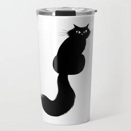 Longhaired Black Cat Travel Mug