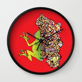 Psychedelly Frog Wall Clock