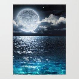 Full Moon over Ocean Poster