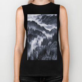 Misty Forest Mountains Biker Tank