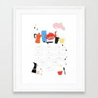 calendar Framed Art Prints featuring Calendar 2014 by Anne