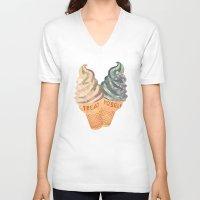 treat yo self V-neck T-shirts featuring Treat Yo' Self by Suburban Bird Designs