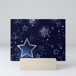 Seamless Background with Silver Stars Mini Art Print