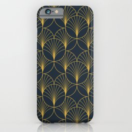 Art Deco Style Seamless Pattern with Golden Fan Shapes iPhone Case