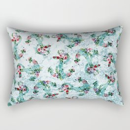 Vintage style floral nautical anchor teal glitter Rectangular Pillow
