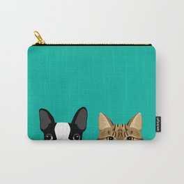 Boston Terrier & Tabby Carry-All Pouch