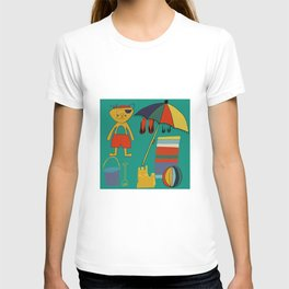 Cat pirate at the beach green T-shirt