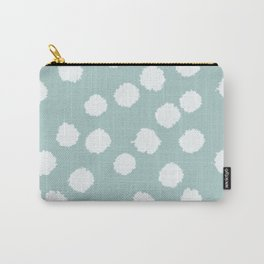 Fuzzy Polka Dots - Robin's Egg Blue / White Carry-All Pouch