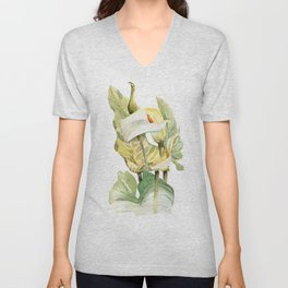Watercolor hand painted illustration with callas in gentle tone Unisex V-Neck