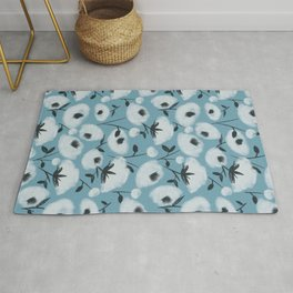 Cotton Flowers on Blue Pattern Rug
