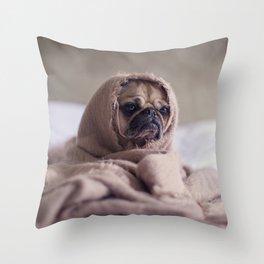 Snug pug in a rug Throw Pillow