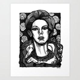 lady in garden Art Print
