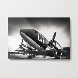C-47D Skytrain Black and White Metal Print
