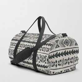 Boho Tribal Black & Cream, Geometric Print, Ink Tribal Decor Duffle Bag