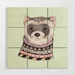 Hipster Ferret Wood Wall Art