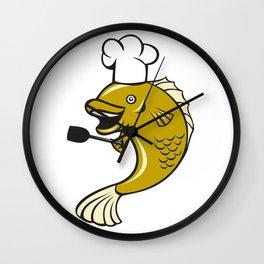 Cook Chef Largemouth Bass Fish Spatula Cartoon Wall Clock