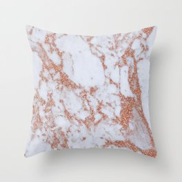 Intense rose gold marble Throw Pillow