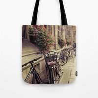 bikes Tote Bags featuring Bikes by Ines Valencia