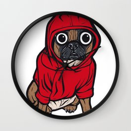 French Bulldog Red Hoodie Wall Clock