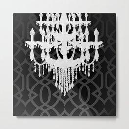 Chandelier Silhouette & Imperial Trellis Metal Print