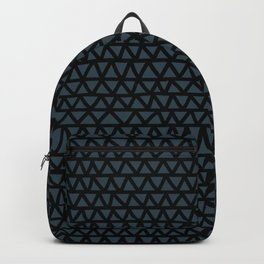 Petrol blue-green and black hand-drawn zig-zag- abstract Backpack