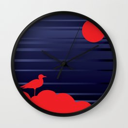 Simple Graphic Bird and Moon Wall Clock