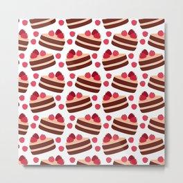 strawberry cakes pattern Metal Print