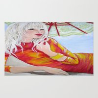 tequila Area & Throw Rugs featuring Tequila Sunrise by Geraldine Warrior