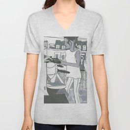 Barista Girl in Greyscale Unisex V-Neck