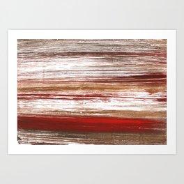 Red brown lines Art Print
