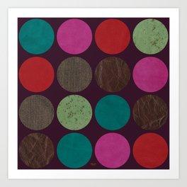 leather dots on dark purple Art Print