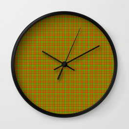 Red Lime Green Check Wall Clock