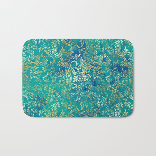 Blue Gold Swirls Bath Mat